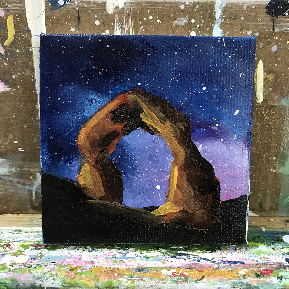 "97/100.. Bucket List. 3""x3"" acrylic on canvas"
