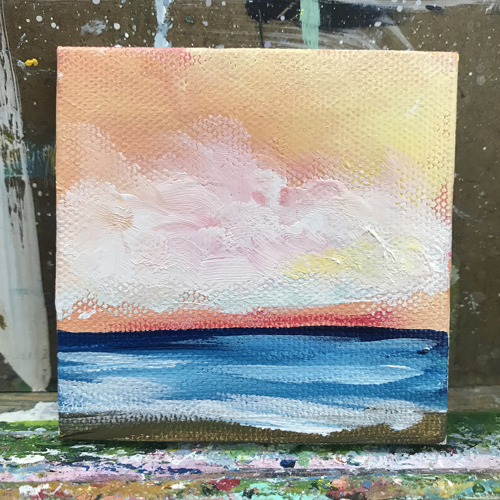 "98/100. Morning Sunrise. 3""x3"" acrylic on canvas"
