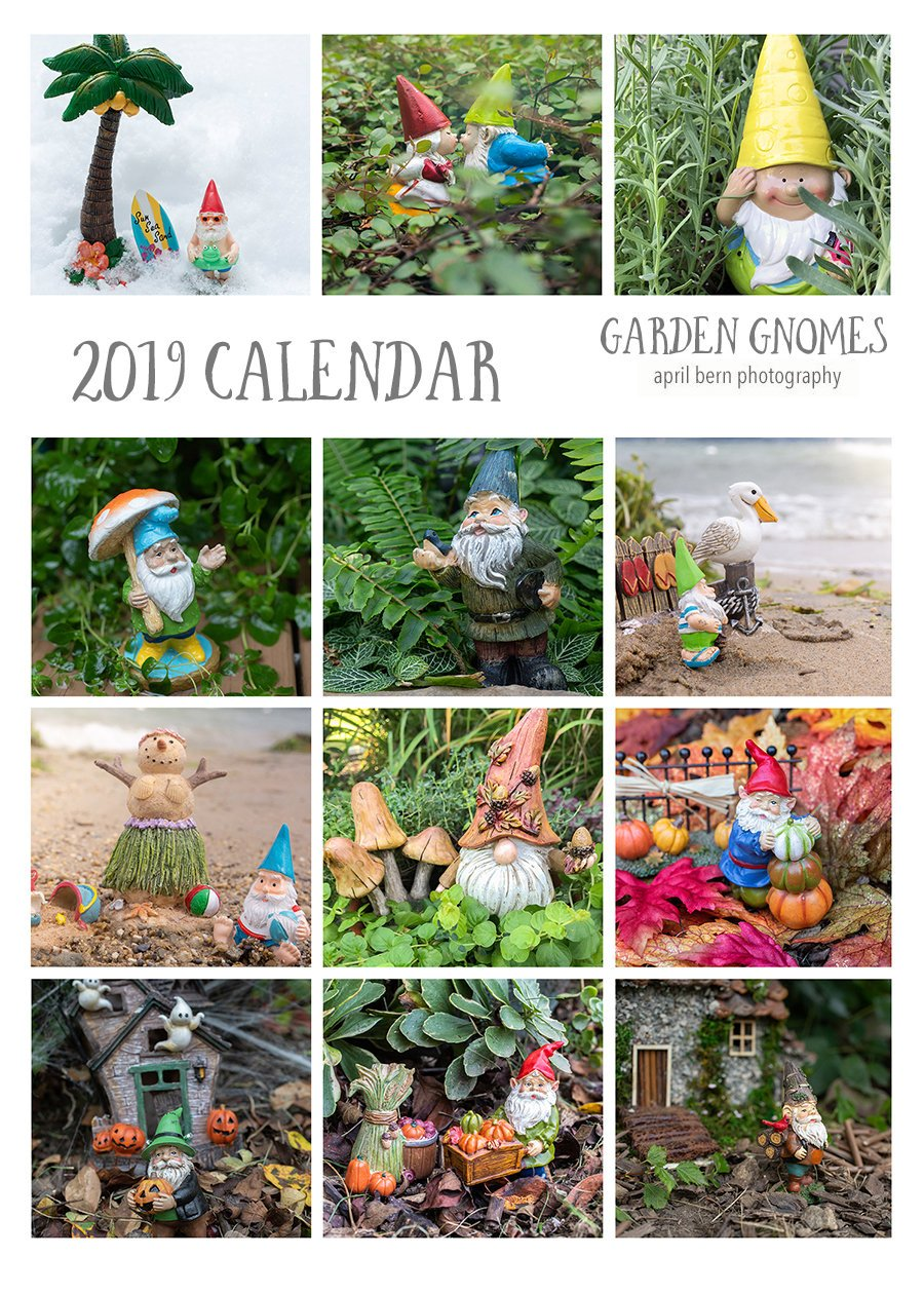 2019 Garden Gnomes Calendar by april bern photography