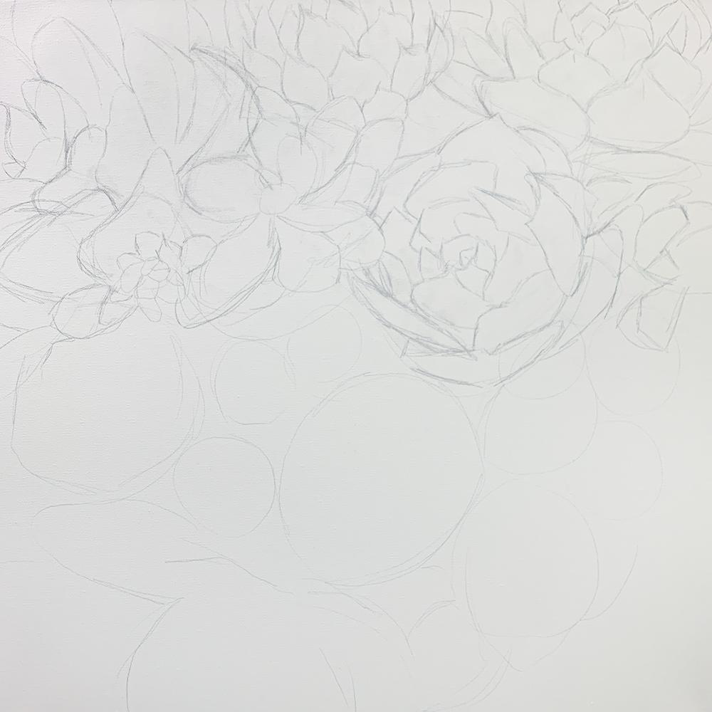 WIP - Succulent Garden Painting