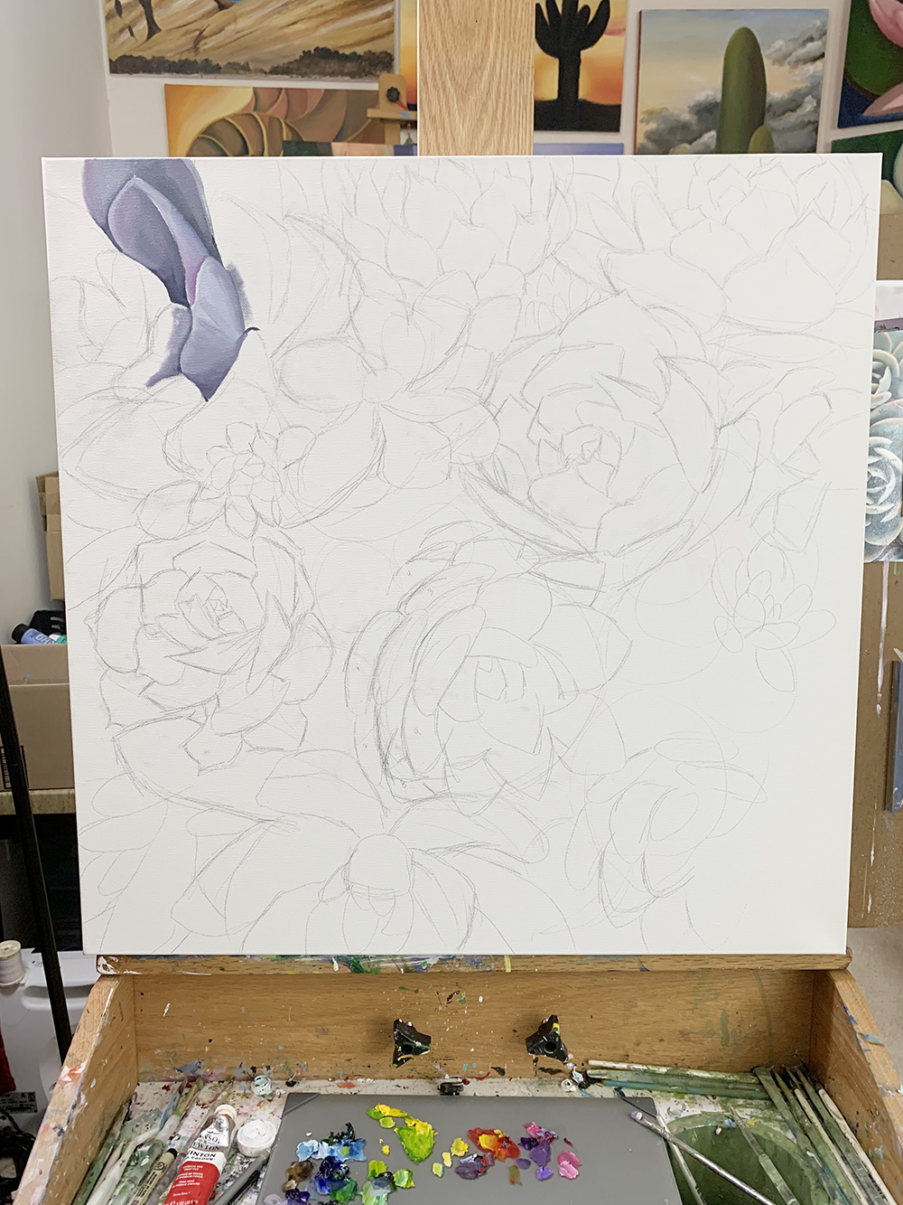 Work in progress - Succulent Garden Painting. Starting to paint.