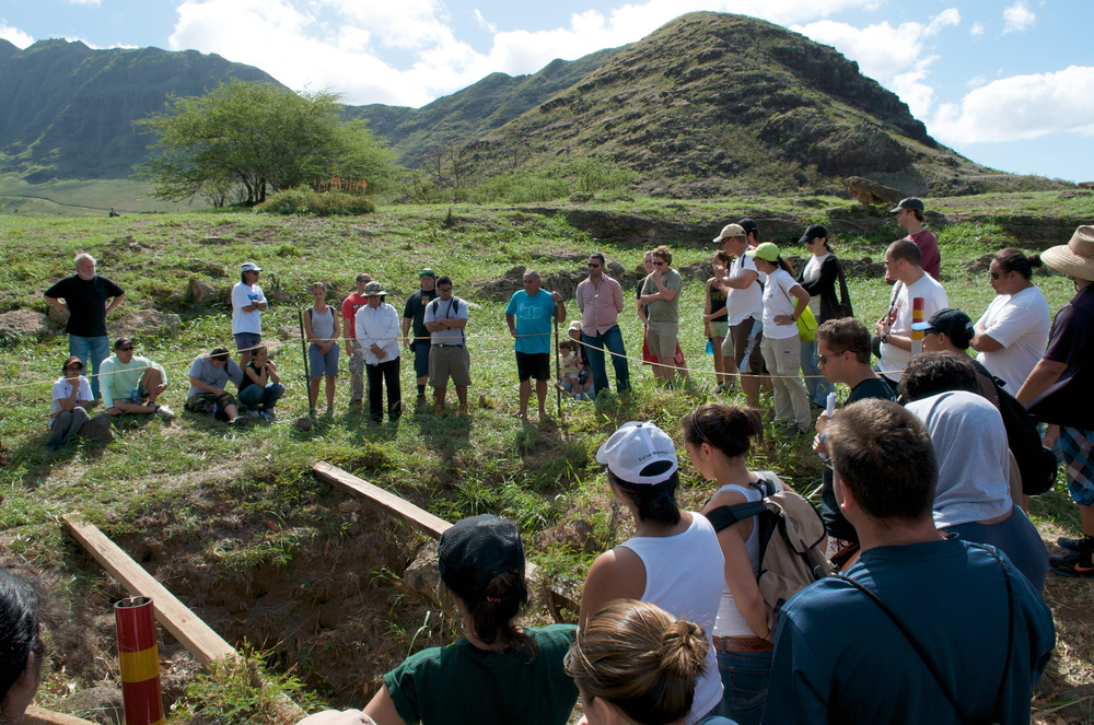 William Aila Jr. (center, bright blue shirt) explains the complicated history of this large hole, which is actually an ancient sweetwater well. I will summarize the story, which is depressing and absurd and too lengthy for a caption, like this: The U.S. military, together with various state agencies, has blocked restoration of this well because to allow its restoration would signify respect for (or at least recognize the legitimacy of) non-commodity Hawaiian Knowledge or Culture within the dominant bureaucratic structure. Of course this is only a tiny example of how settler states such as the U.S. continually suppress and marginalize Indigenous Peoples' Knowledge in order to maintain settler hegemony; a million more examples from all across Native North America leap to mind. So, the fight to restore this well continues.