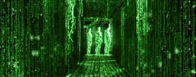 There's a scene where Neo can see everything in matrix-code.