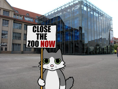 Bunny in front of the ZKM, on her way to the Karlsruhe Zoo.