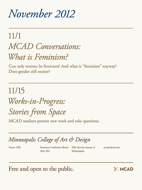 MCAD Fall Liberal Arts series, November (MCAD, 2012)