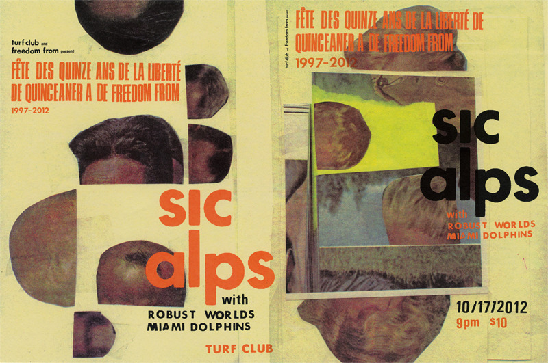 "Sic Alps (Turf Club, 2012)  Rock show poster. Illustrations play off of mishearing Sic Alps as ""scalps"". Illustrations and typography by Namdev/The MVA Studio, assembled by Dan Black/Landland. Produced as a five-color screen print."