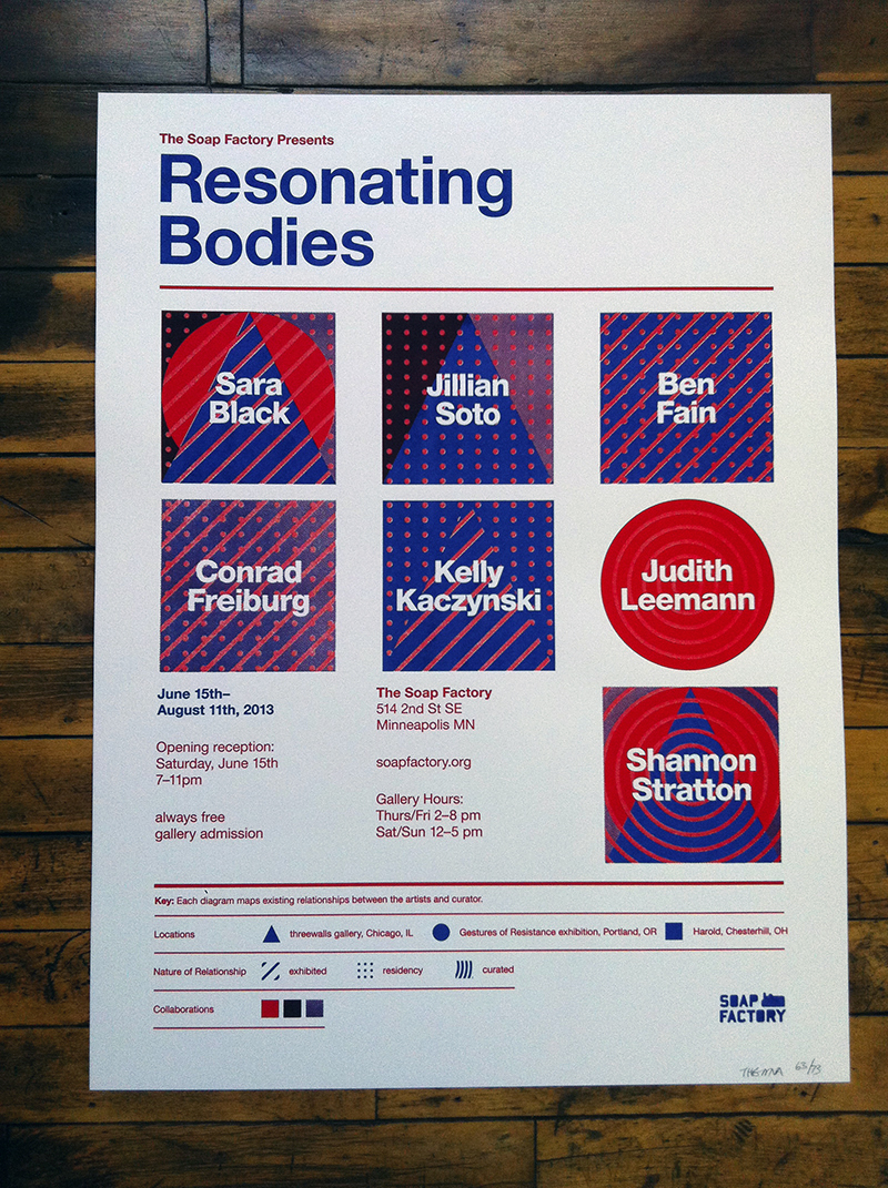 Resonating Bodies poster, 2013 (Client: The Soap Factory). Designed & printed by The MVA Studio.