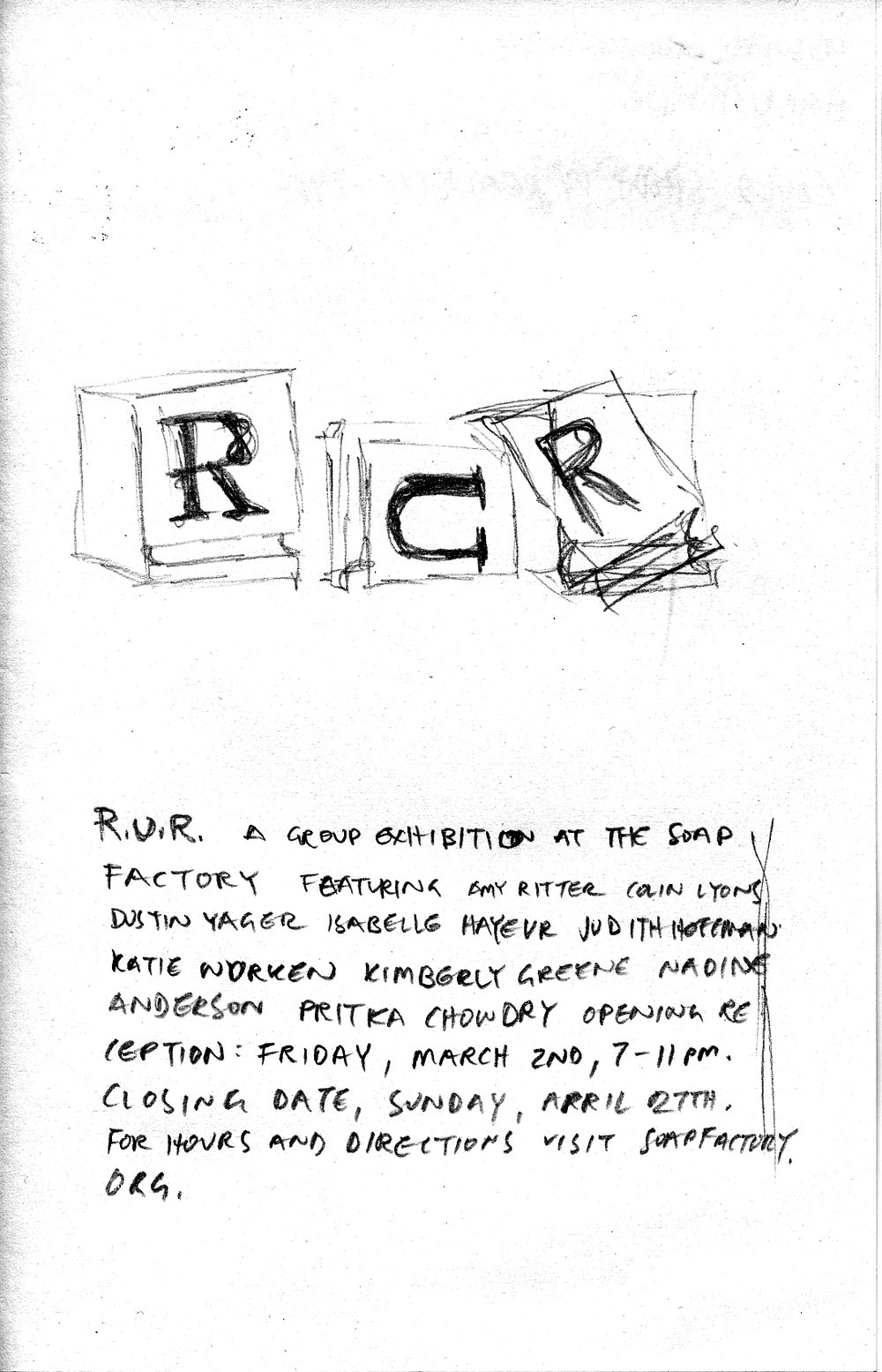 R.U.R. poster concept: drawing of letterpress blocks to talk about obsolescence