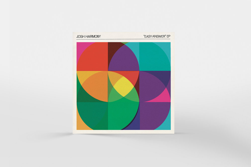 """Josh Harmony """"Easy Answer"""" EP. The visual research that ended up in the final version was hand-made typography, physical materials (paper texture), vintage 45 sleeve art, and a labelling style that looked like it could be part of a series."""