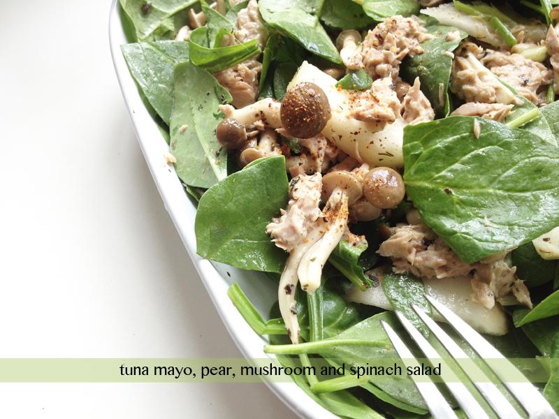 tuna mayo pear mushroom spinach salad