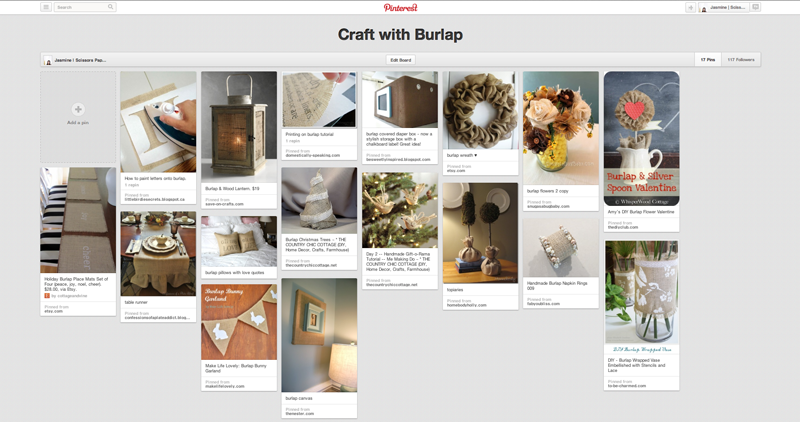 pinterest : craft with burlap by scissors paper stone