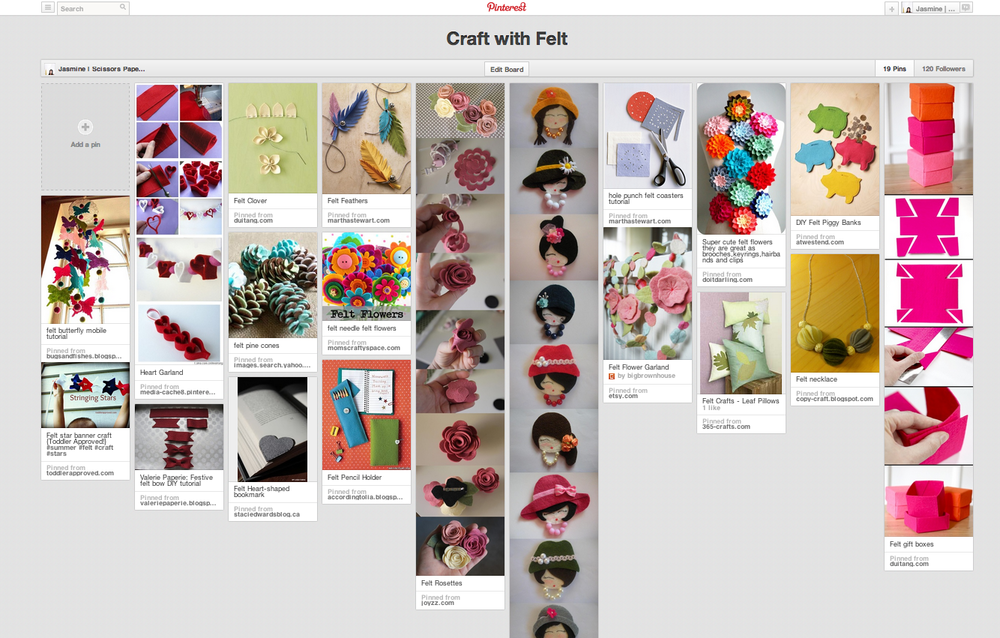 craft with felt pinterest board | scissors paper stone blog