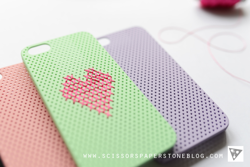 Find Cross Stitch DIY Phone Cover / Case via www.scissorspaperstoneblog.com