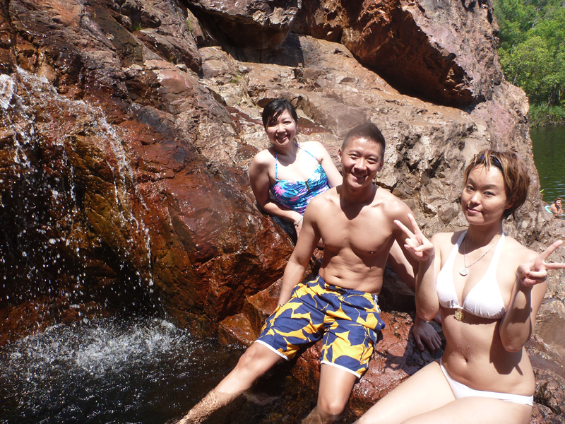 Ai, Leo and Sakura at the natural jacuzzi at Wangi Falls (Photo courtesy of Sakura of  www.ninjagirls.sg )