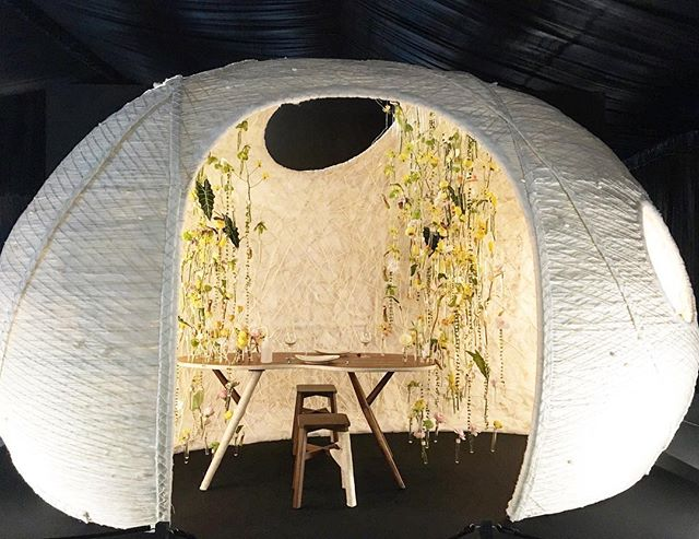 As a mum, this exhibit titled cocoon connected with me. It depicts how as the designer, Chen Nina was preparing to leave home for university, her mum prepared a home-cooked meal and bought fresh flowers for the first time. It took her years later to understand her mother's emotions as she released her from the warmth and safety of the cocoon she had created. This exhibit tells the story of departure and evolution and in her own words, 'while departure is sad, evolution is beautiful and exciting'.