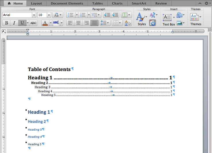 Word for Mac common headings and a Table of Contents.