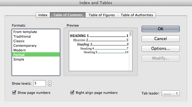 Table of Contents creation window.