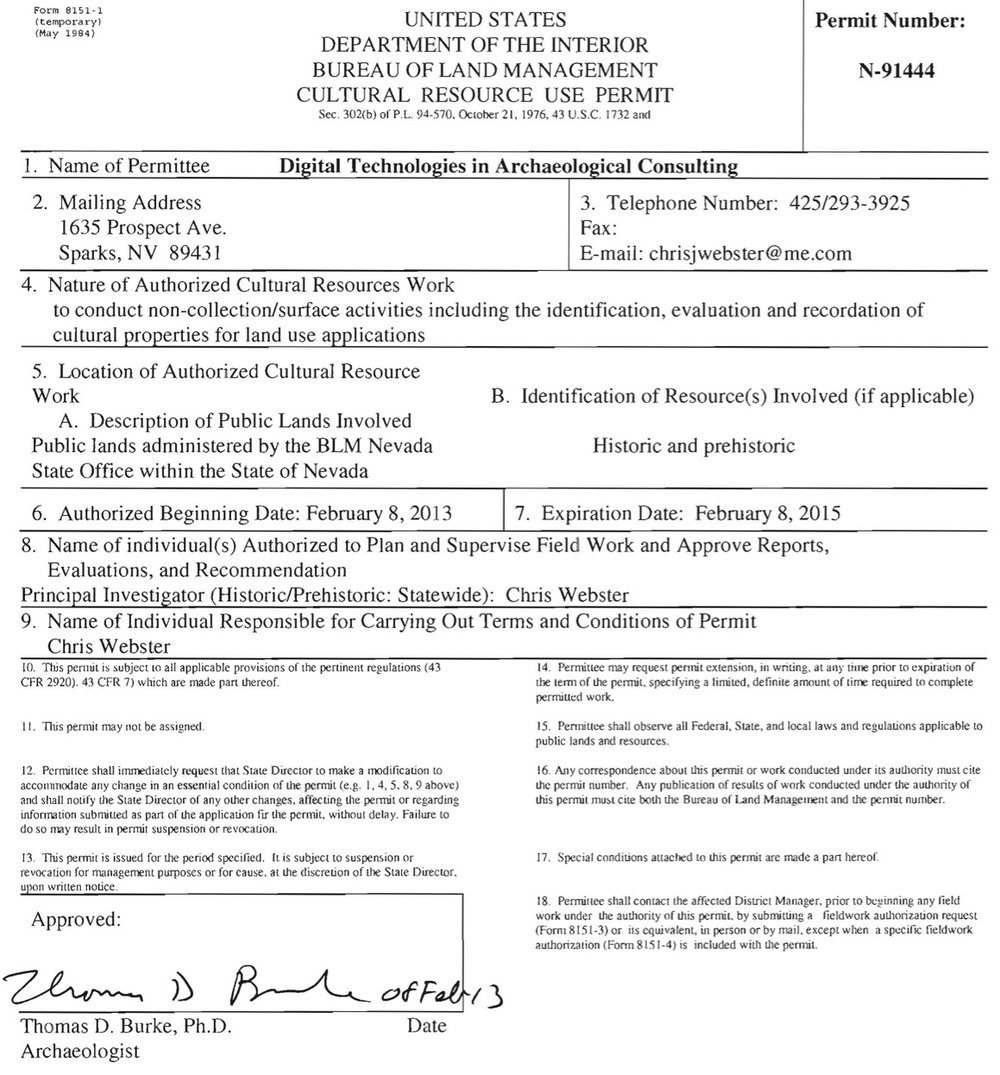 Nevada BLM Cultural Resource Use Permit