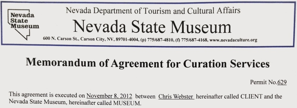 Nevada State Museum Curation Agreement