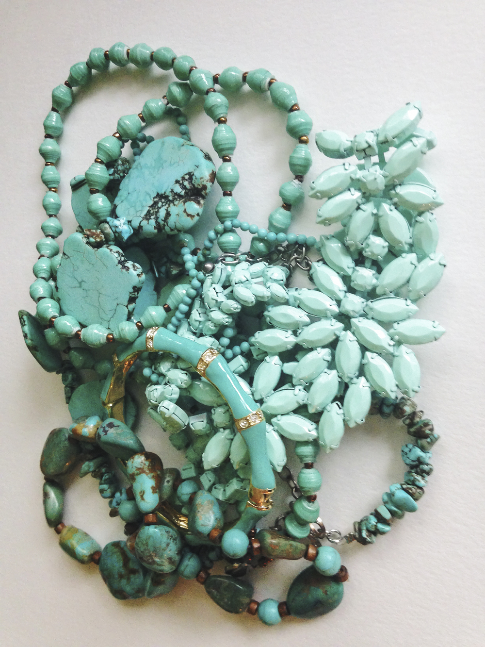 Susan Shepardson   - I love the color of turquoise. According to  Indian Arts and Culture  turquoise stands for water and for sky, for bountiful harvests, health and protection. Blue-green symbolizes creation and the hope for security and beauty.