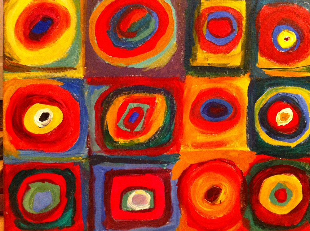 Madeline Lovejoy   - COLOR is perspective and expression; it can symbolize emotion, trigger memories, evoke sympathies. Painting was and is one if my favorite activities!  My re-creation of Kandinsky's Color Study Squares with Concentric Circles.