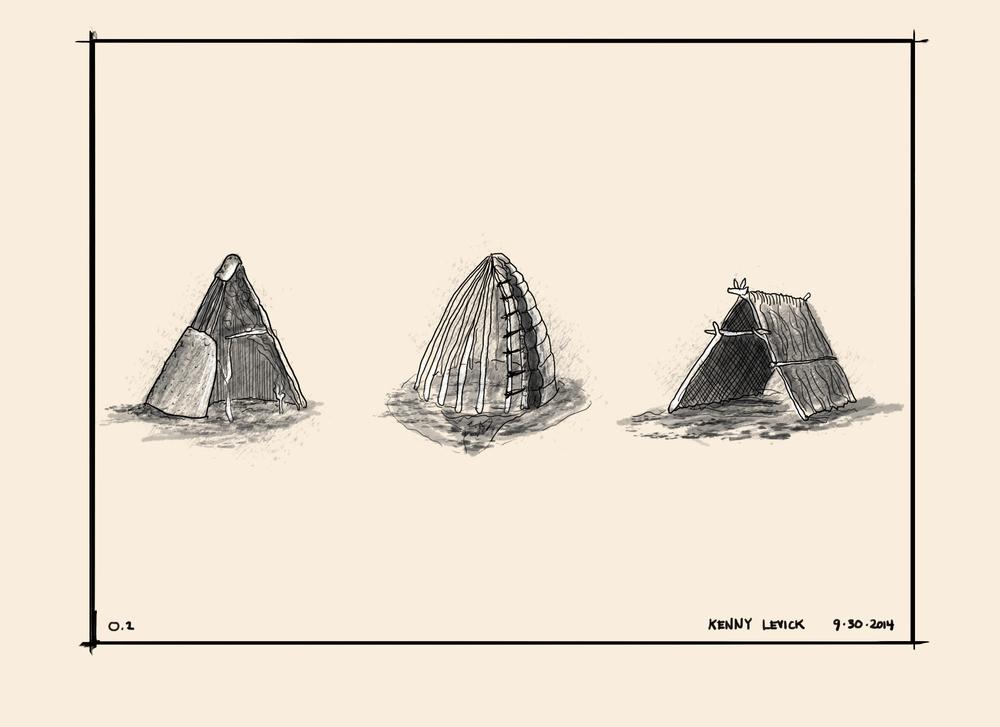 Primitive huts
