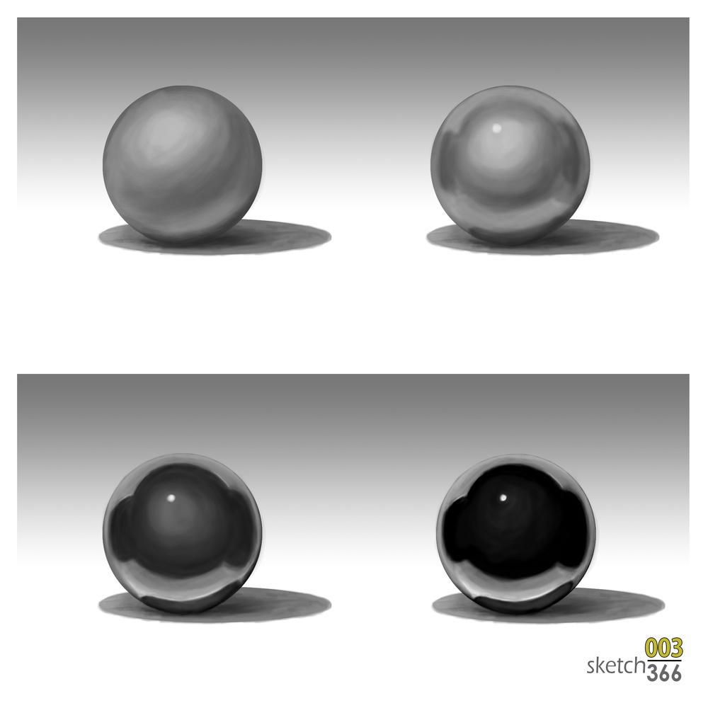 matte/reflection balls - digital paint