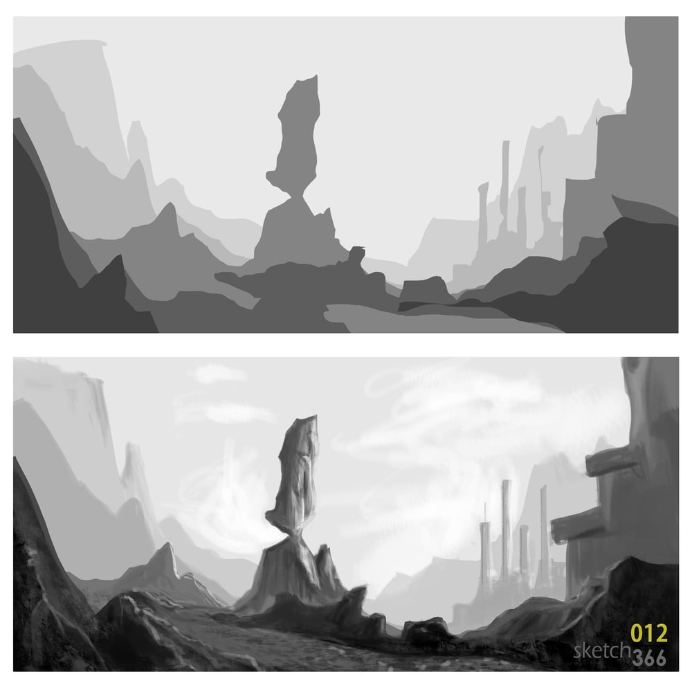 composition & value environment study - alchemy and digital paint