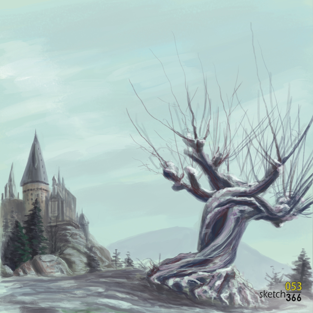 whomping willow winter - digital paint