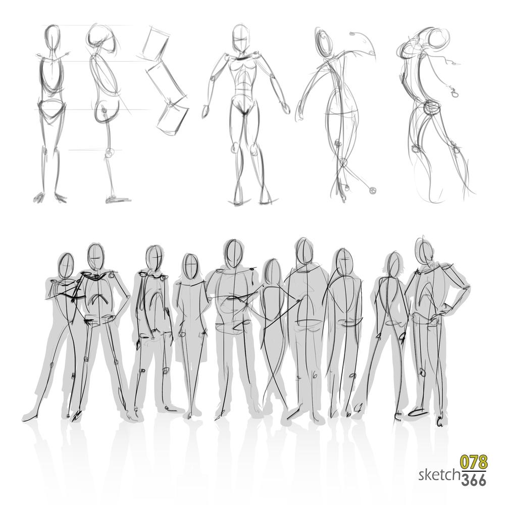 human gesture sketches - digital chalk