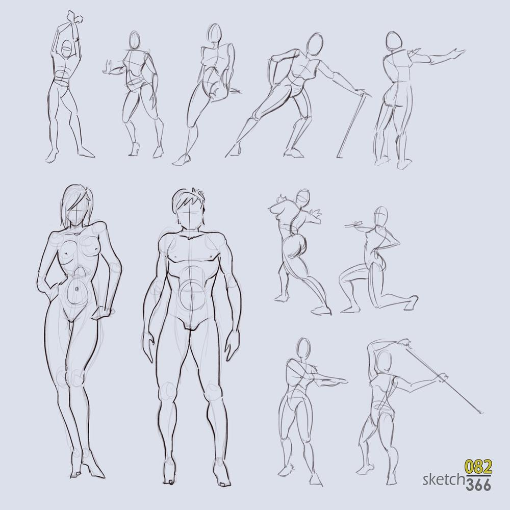 human gesture drawings - digital sketch