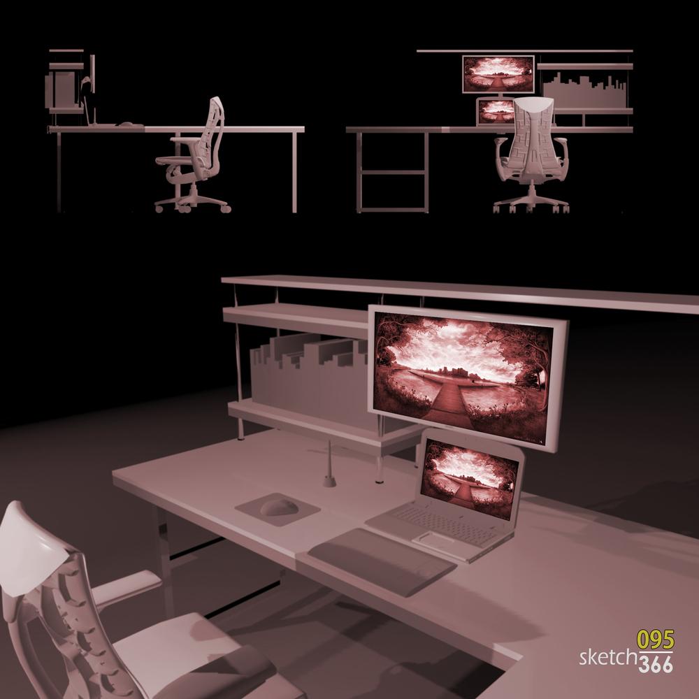 early desk design - 3ds max