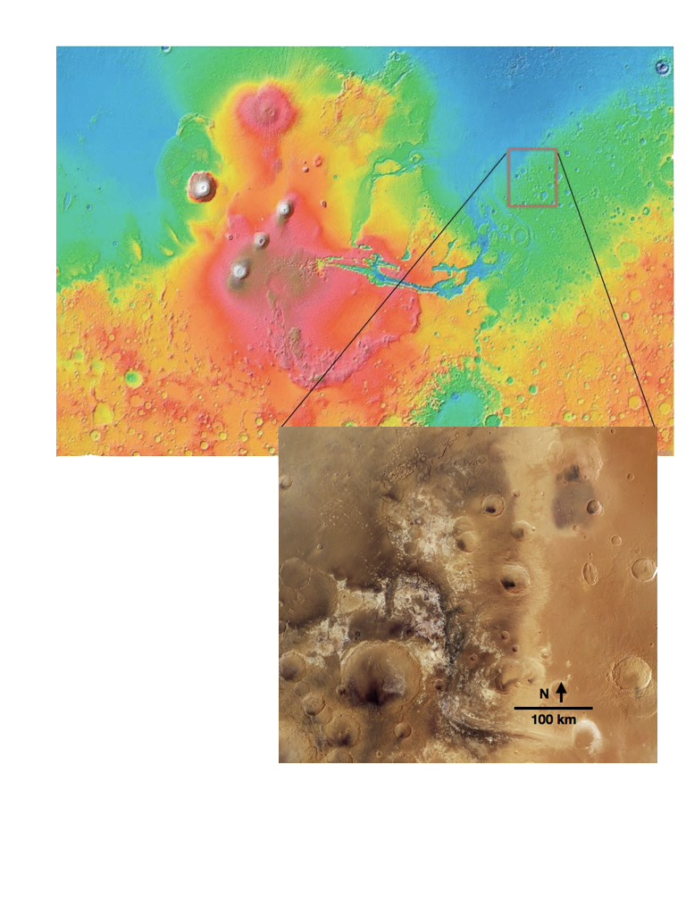 Figure 3. Location of Mawrth Vallis (25°N, 340°E). Figure derived from (McKeown et al. 2009).