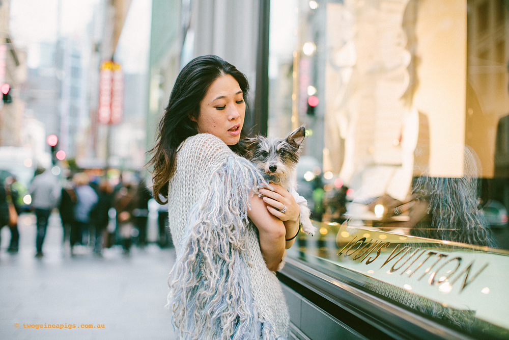 Kitty Choy with Hugo outside Louis Vuitton, Sydney.