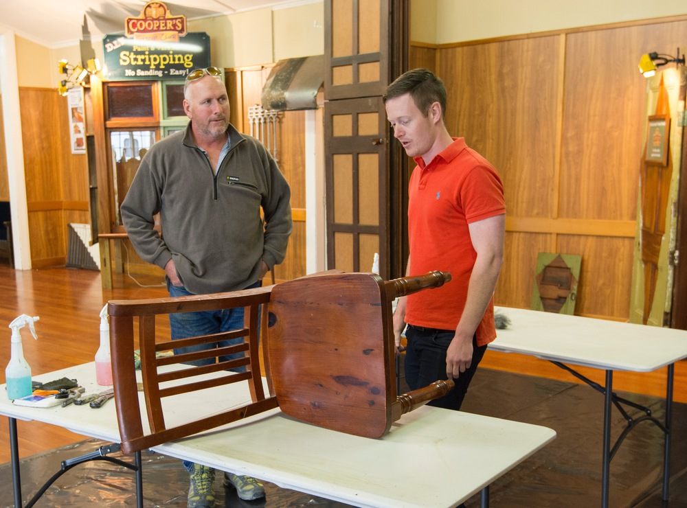 Lance has been presented with a varnished chair to strip.