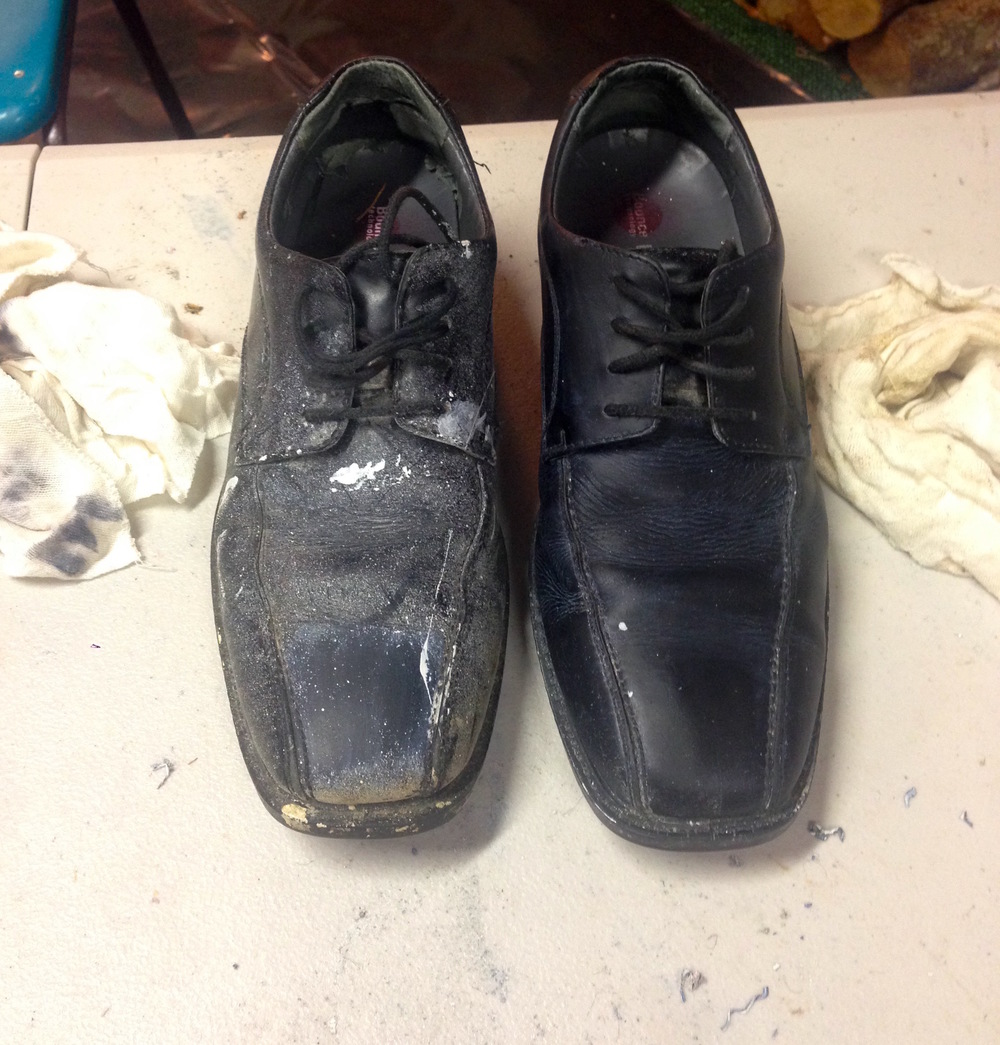 Before and after for stripping leather shoes.