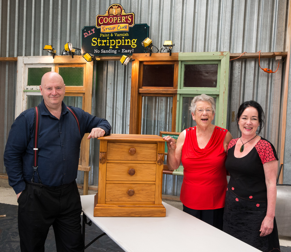 Mug shot of us at the Gore Expo with this lady and her restored cabinet