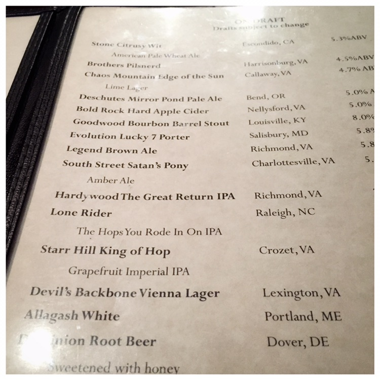 The Depot Beer Menu