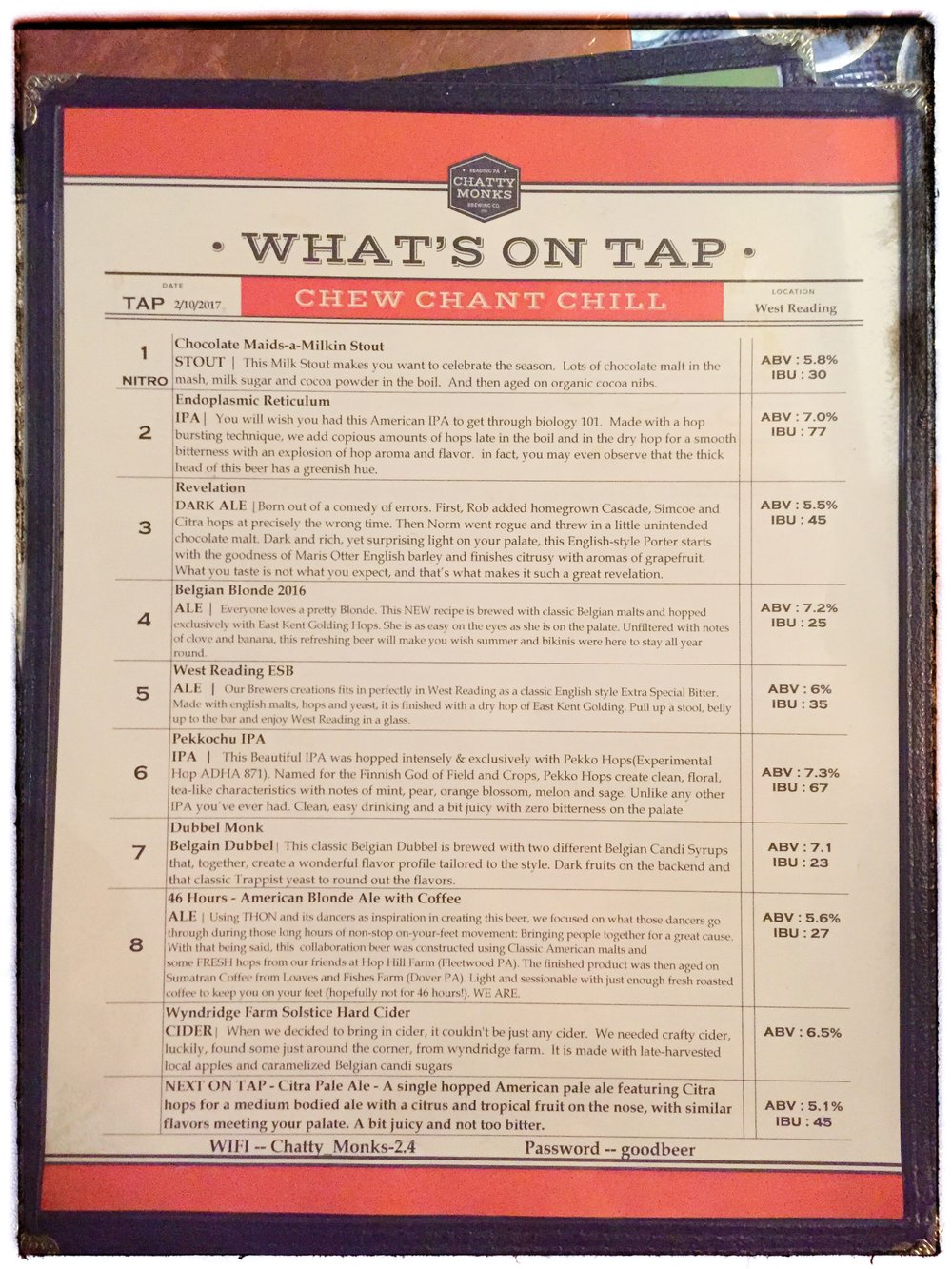 Chatty Monk beer menu