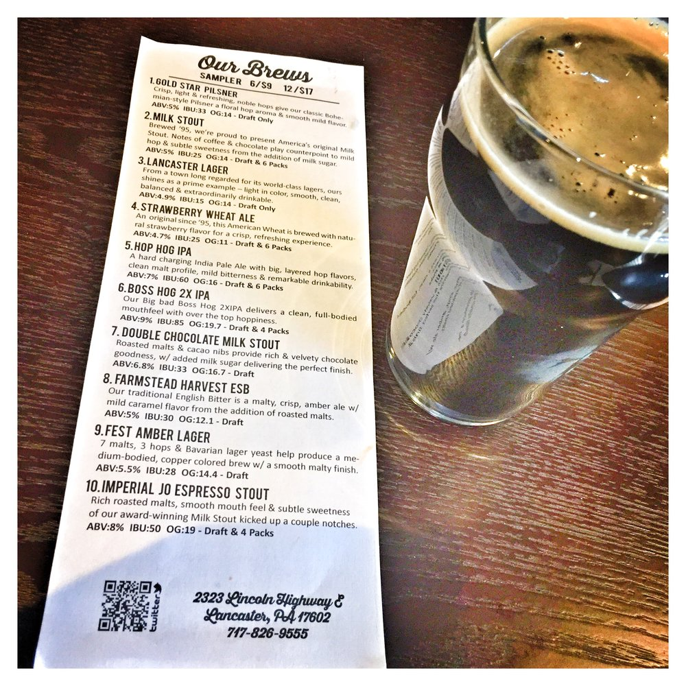 Lancaster Brewing been menu