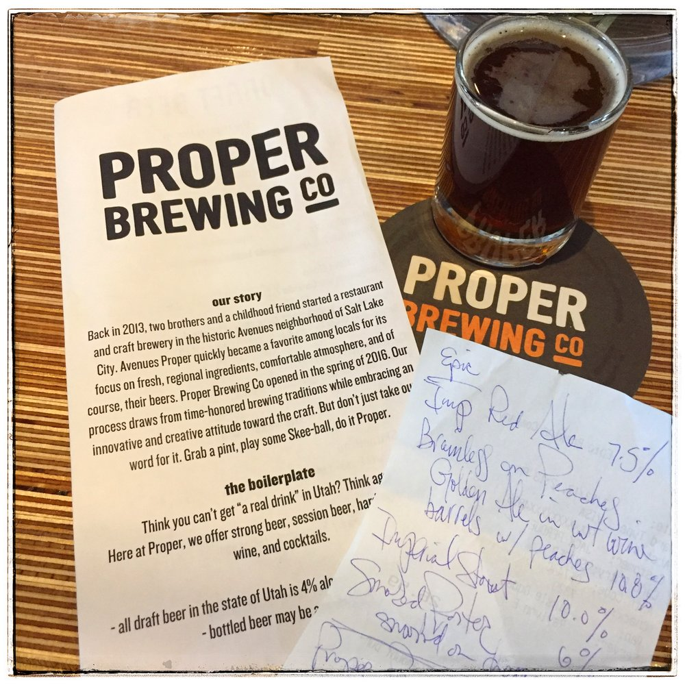 Proper Brewing - Reading my Epic tasting notes while drinking at Proper.