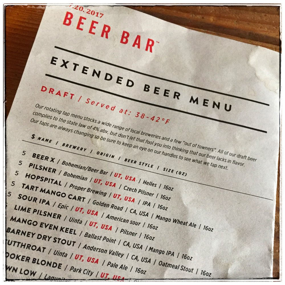Beer Bar Menu - Beer Bar menu displays a wide assortment of beers from far and wide.