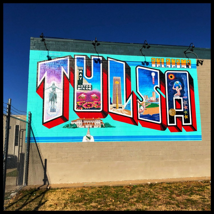 Tulsa Mural #2 - This painted building adds a bright flair to a morning walk or anytime.