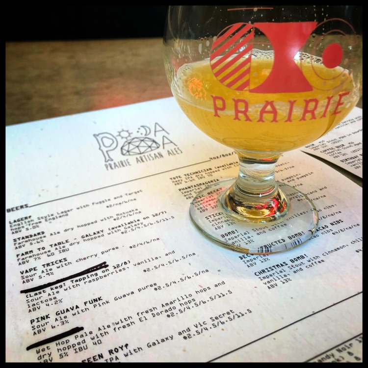 Prairie Artisan Ales - A glimpse of my fine ale and the beer menu.