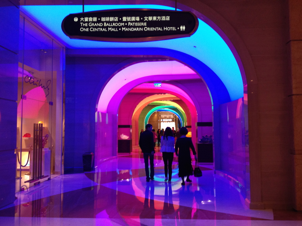 Shopping Arcade with color changing Illuminated archways at the MG Macau