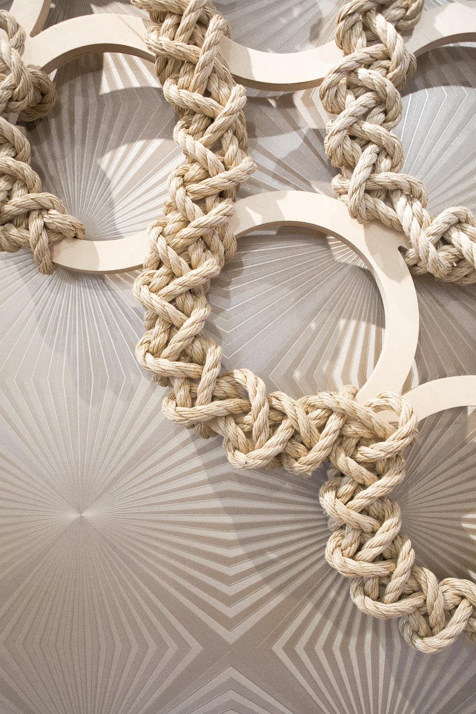 Rope Diamond Rings, Fogo de Chao, Minneapolis, Minnesota. Each 5.5 x 5.5'.