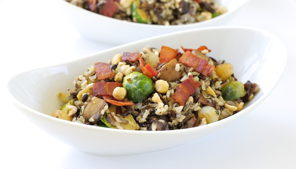 Wild Rice Stuffing with Mushrooms and Brussels Sprouts
