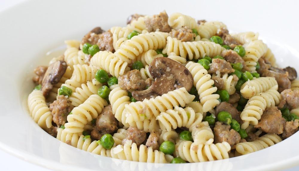 Fusilli with Turkey Sausage, Peas, and Mushrooms