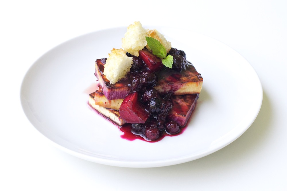 Grilled Tofu with Berries and Sugared Toast
