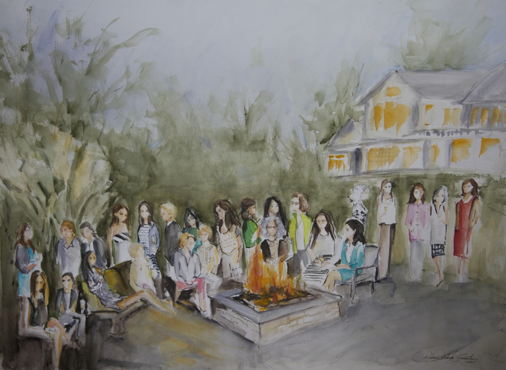 Watercolor piece of women celebrating the expectance of twins